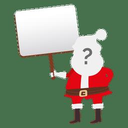 Papai Noel interrogativo rosto segurando a placa