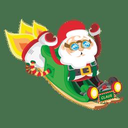Papá Noel en el trineo cohete
