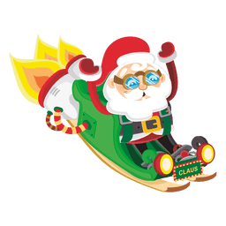 Santa claus on rocket sleigh