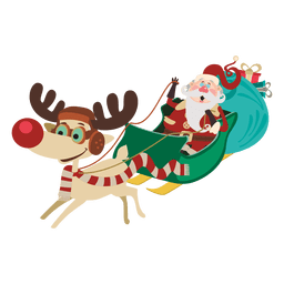Santa claus on sleigh cartoon
