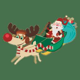 Weihnachtsmann auf Pferdeschlittenkarikatur
