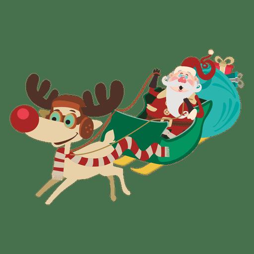 Santa claus on sleigh cartoon