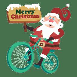 Papá Noel que monta en bicicleta