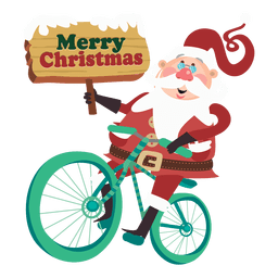 Santa claus riding bicycle