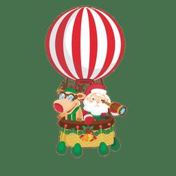Santa ciervos en airballoon
