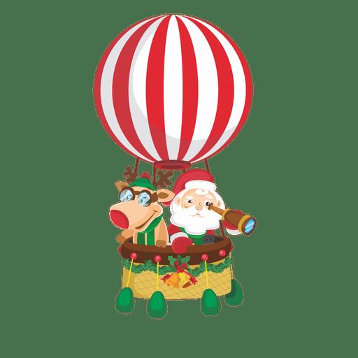 Santa deer on airballoon Transparent PNG