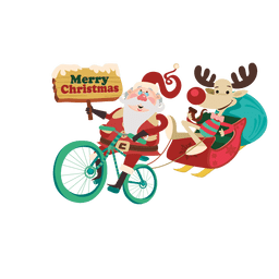 Santa draggin sleigh with bicycle