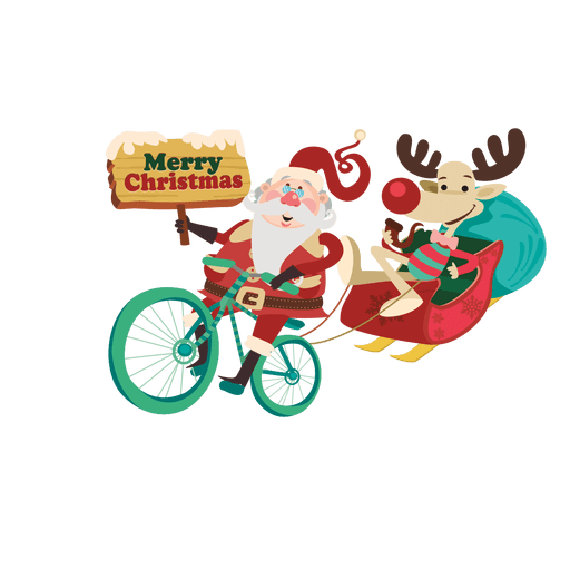 Santa draggin sleigh with bicycle Transparent PNG