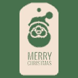 Etiqueta de Navidad troquelada cara de Santa