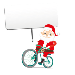 Santa holding banner on bike