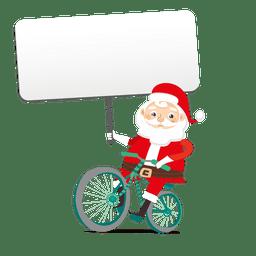 Santa sosteniendo la pancarta en bicicleta