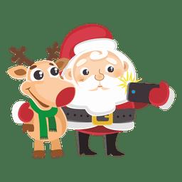 Santa reindeer capturing selfie