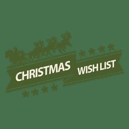 Etiqueta de lista de deseos de Navidad de trineo