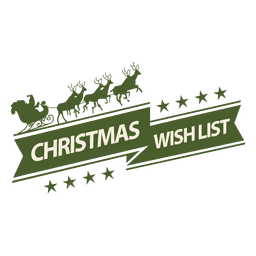 Santa sleigh christmas wishlist label