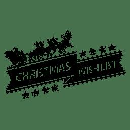 Emblema de Natal Santa trenó fita