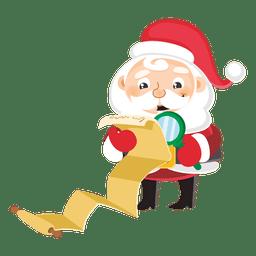 Papai Noel com grande lista de presentes