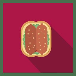 Icono de salchicha plana cuadrada