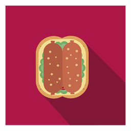 Sausage flat square icon
