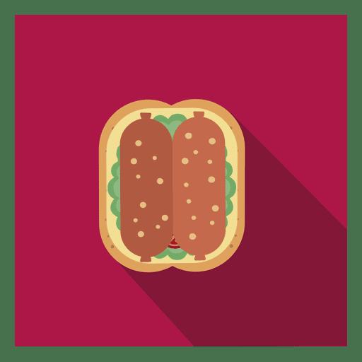 Icono cuadrado plano de salchicha