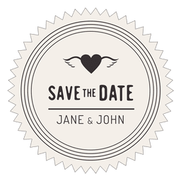 Save the date retro badge