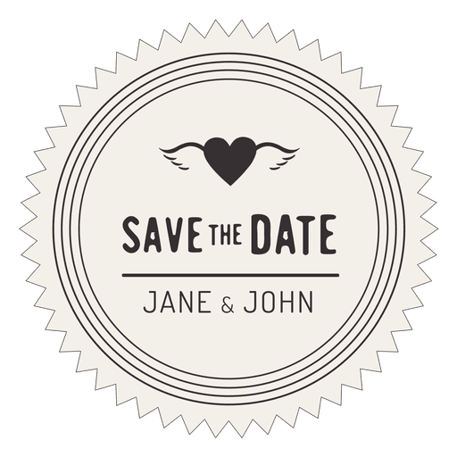 Save the date retro badge Transparent PNG