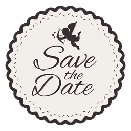 Save the date round badge