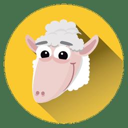 Icono de círculo de dibujos animados de ovejas
