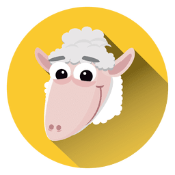 Sheep cartoon circle icon