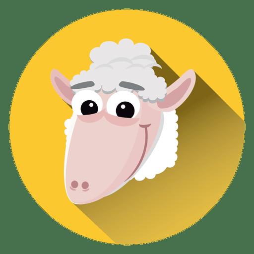 Icono de círculo de dibujos animados de ovejas Transparent PNG