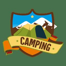 Escudo emblema de acampamento retro
