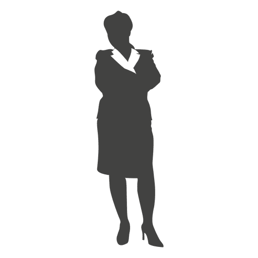 Silhouette female executive standing casually Transparent PNG