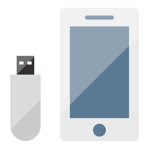 Smartphone and pendrive flat icon - Transparent PNG & SVG ...
