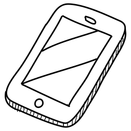 Icono de teléfono inteligente dibujado a mano