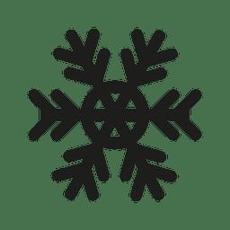 Silueta de icono plano de copo de nieve