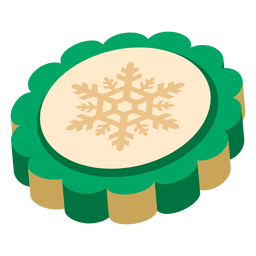 Snowflake green 3d coin