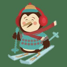 Esqui de desenhos animados de boneco de neve