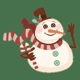 Boneco de neve segurando um bastão de doce