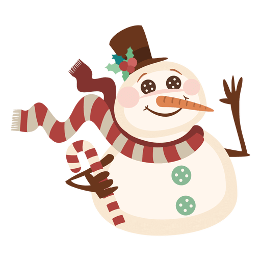 Snowman holding candy cane Transparent PNG