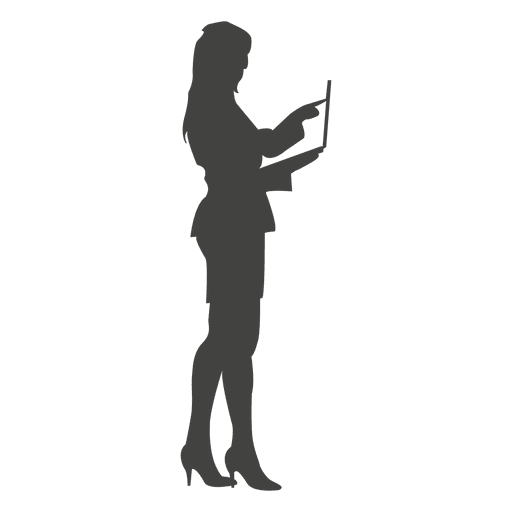 Standing businesswoman working on laptop Transparent PNG