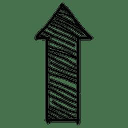 Flecha de dirección superior de rayas