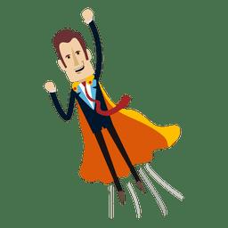 Desenhos animados de empresário de super-herói