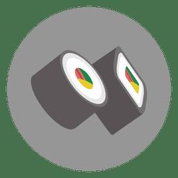 Icono de dibujos animados de círculo de sushi