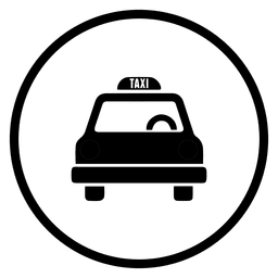 Icono de viaje de taxi redondo