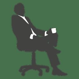 Cansado homem de negócios sentado silhueta