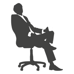 Tired businessman sitting silhouette