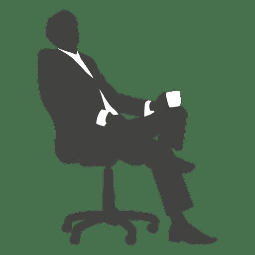 Cansado homem de negócios sentado silhueta Transparent PNG