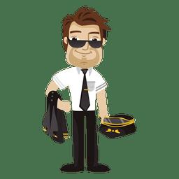 Profissão de desenho animado piloto cansado