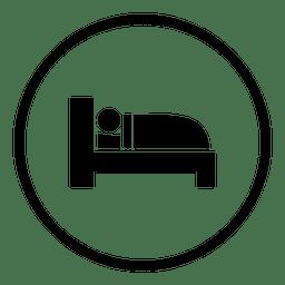 Bett schlafen Runde Symbol