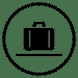 Icono de viaje maleta aeropuerto redondo