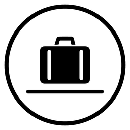 Travel airport suitcase round icon